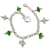 Green sea glass on a solid sterling silver charm bracelet. A heart makes this perfect for any beach lover!  ALL of our sea glass charm bracelets are on fully soldered chains with soldered utility links for a lifetime of surety and enjoyment.