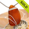 A large piece of bright amber brown sea glass set in our triple sterling silver setting. Sorry this Sea Glass Jewelry piece has been SOLD!