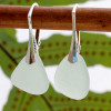 Pale sea green sea glass pieces shaped only by the sea, sand and time are suspended on solid sterling leverback earrings. This is the EXACT pair you will receive!