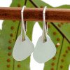 Pale sea green thin sea glass pieces shaped only by the sea, sand and time are suspended on solid sterling leverback earrings. This is the EXACT pair you will receive!