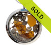 Genuine amber sea glass piece combined with a real shells, sea fan and a real beach sand in this JUMBO 35MM stainless steel locket necklace. Sorry this sea glass jewelry item has been sold!