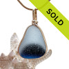 Blue Moon Rising - Large English Pontil Sea Glass Pendant In Gold Original Wire Bezel©