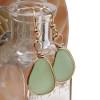 Natural Genuine beach found seafoam green sea glass earrings in a 14K Rolled Gold Original Wire Bezel setting.
