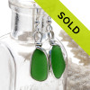 Our jewelry leaves our sea glass totally natural, just the way it was found on the beach. We use ONLY Genuine sea glass collected on beaches from around the world. Sorry this pair of sea glass earrings have been sold!