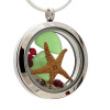 Green sea glass and vivid ruby red and green gemstones make this a great locket necklace for the holidays