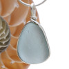 A stormy gray blue LARGE piece of English sea glass set in our classic, elegant Original Wire Bezel© setting in sterling silver.
