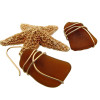Larger pieces of amber brown sea glass in a simple set earring in gold!