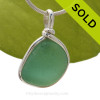 A perfect piece of aqua green sea glass in our Original Wire bezel© necklace pendant setting. Sorry this piece of Sea Glass Jewelry has been sold!
