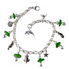 6 pieces of genuine green beach found sea glass combined with solid sterling beach inspired charms in a totally solid sterling silver bracelet. Sealife Charms make this perfect for any beach lover!