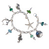5 pieces of genuine beach found sea glass combined with solid sterling beach inspired charms in a totally solid sterling silver bracelet.  Sealife Charms make this perfect for any beach lover!