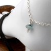 Simple mixed green sea glass ankle bracelet in silver
