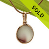 Plum Pontil - Mixed English Sea Glass Pendant In Gold Wire Bezel©