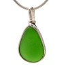 A nice piece of bright green sea glass in an elegant and versatile setting. Our Original Wire Bezel© pendant setting leaves the sea glass totally unaltered from the way it was found on the beach.