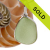 Great piece of natural larger Seafoam Green Genuine Sea glass in my Original Sterling Silver Wire Bezel© a simple design that lets all the beauty of this glass shine.  Top quality sea glass.