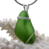 Natural Green Sea Glass In Sterling Basic Beach Setting