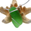 A Simple Green Sea Glass In Sterling Basic Beach Setting Pendant