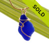 Rich Blue Genuine Sea Glass In Gold Deco Inspired Necklace Pendant