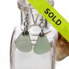 Pale sea green sea glass earrings in sterling are sold!