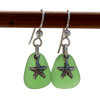 Green sea glass earrings in sterling with sterling starfish charms