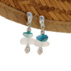 Pure white and mixed aqua green sea glass from England set on solid sterling curved post earrings.