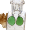 Perfect natural sea glass pieces set in our Original Wire Bezel© earring setting.