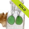 Genuine Green Sea Glass Earrings In Sterling Silver Original Wire Bezel©
