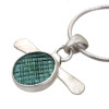 Flat Marble (Ohajiki, 御弾き) beach found sea glass piece set in sterling and fine silver with a satin finish.