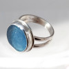 Flat Marble (Ohajiki, 御弾き) beach found Vivid Blue sea glass piece set in sterling and fine silver and Sterling Silver