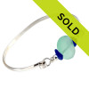 Blue Sea Glass Sterling Bangle Bracelet With Aqua Green Glass Bead