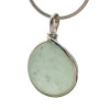 Our Original Sea Glass Bezel© setting really makes this piece shine! A large perfect rounded piece of bubbled seafoam green sea glass in solid sterling Original Sea Glass Bezel© setting