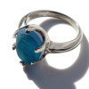 A stunning piece of Victorian Era mixed aqua blue sea glass set in a secure solid sterling prong ring. Beautiful!