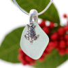 Aqua Green Sea Glass With Sterling Silver Sea Turtle Charm - S/S CHAIN INCLUDED