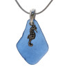 A piece of genuine blue sea glass on a necklace