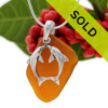Large Amber Beach Found Sea Glass Necklace With Kissing Sterling Dolphin Charm - S/S CHAIN INCLUDED