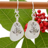 Airy and light pure white sea glass earrings in sterling with sterling sea turtle charms