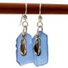 A large pair of genuine sea glass earrings.