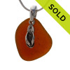 """Amber Sea Glass With Sterling Silver Flop Charm - 18"""" STERLING CHAIN INCLUDED"""