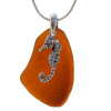 """LARGE Vivid Amber sea glass set on a solid sterling cast bail with a sterling silver Seahorse charm. The sea glass necklace comes on our 18"""" solid sterling smooth snake chain (SHOWN and included)"""