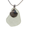 Beach found green sea glass is combined with a solid sterling large shell and presented on an 18 Inch solid sterling snake chain.