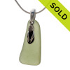 Pale Olive Green sea glass set on a solid sterling cast bail with a sterling silver Flip Flop charm. SOLD - Sorry this Sea Glass Necklace is NO LONGER AVAILABLE!