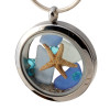 Vivid aqua gemstones, real light and dark Blue Sea Glass and a real larger starfish and beach sand are snug inside this one of a kind sea glass locket necklace.