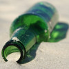 Many green sea glass pieces start as beer and wine bottles tossed into the sea.
