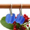 Simply Elegant Cobalt Blue Ridged Sea Glass Earrings On Silver Silver Leverbacks