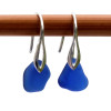 A pair of natural beach found sea glass earrings in a lucky cobalt blue on sterling silver deco hooks Simple and elegant with beach found sea glass.