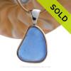 Bright Blue Sea Glass In Tiffany Deluxe Wire Bezel© Necklace Pendant