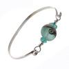 Oceanside - Aqua Beach Found Sea Glass Bangle Bracelet W/ Handmade Bead