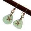 Perfect bright yellowy seafoam green sea glass pieces set with goldfilled starfish charms for a lovely lightweight pair of sea glass earrings.