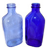 Light and medium blue sea glass PRE-DATES the darker cobalt blue and this pair may have originated from the bottom of a light blue medicine bottle. Pictured here an embossed late 1800 Milk of Magnesia bottle and a darker Cobalt blue from the mid 20th century.