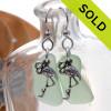 Long Seafoam Green Sea Glass Earrings On Sterling W/ Flamingo Charms