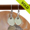 A smaller pair of simple seafoam green sea glass earrings are set on sterling silver fishook earrings. SOLD - Sorry these Sea Glass Earrings are NO LONGER AVAILABLE!